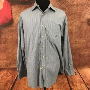 Nautica Sanded Poplin Blue Button Front XL